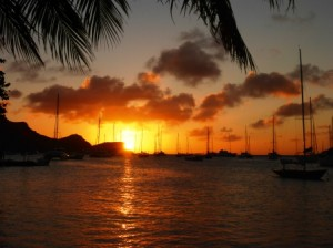 Beautiful sunset in Bequia