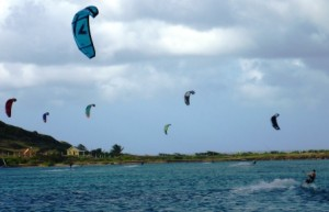 Kite surfers enjoying the wind