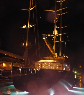 Superyachts lit up for the celebrations