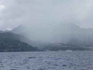 Rain squall over Roseau