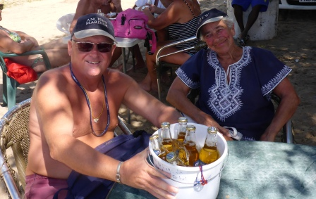 Bucket of beer on the beach