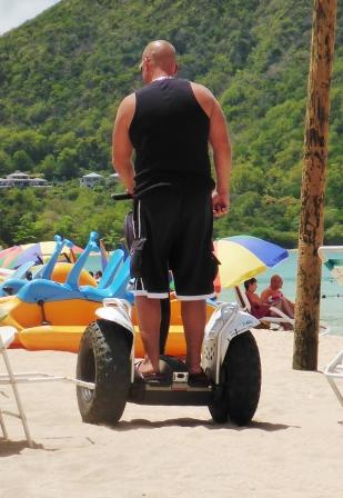 Segway man on the beach