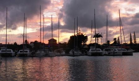 Sun going down in the marina