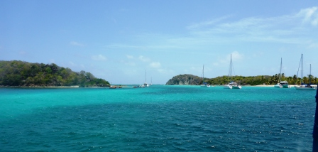 Approaching the cut at the Tobago Cays