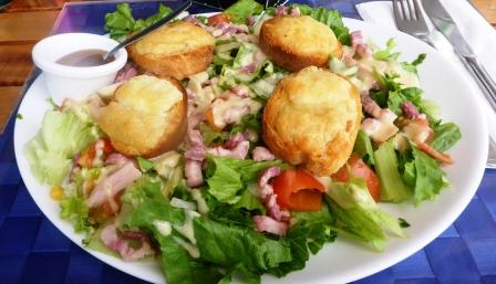 Goats cheese and lardon salad
