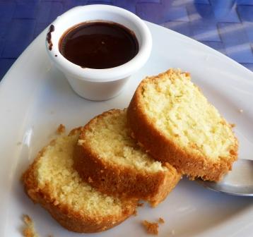 Lime cake with dark chocolate sauce