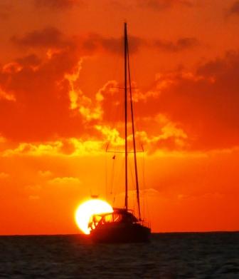 Sunset over Rodney Bay anchorage