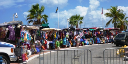 Colourful street market in Marigot