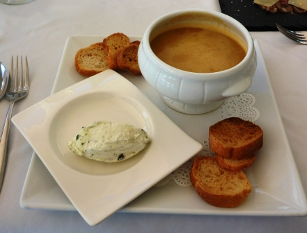 Lobster bisque and sour cream starter