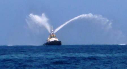 Pilot boat showing off