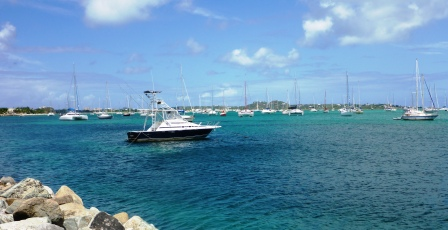 The boats out in Marigot Bay