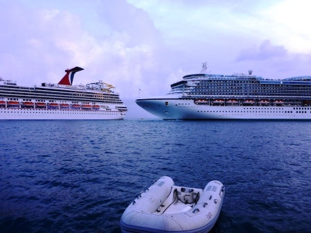 Cruise ships reversing past each other 2