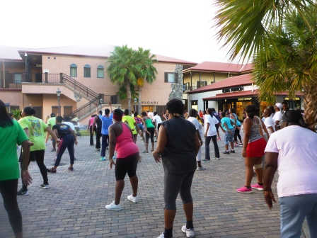 Exercise class in the square