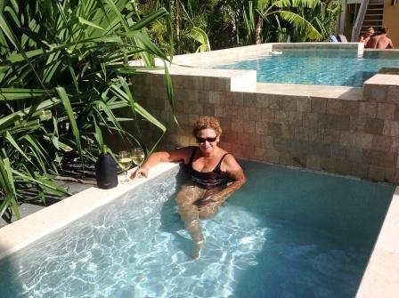 Enjoying the plunge pool
