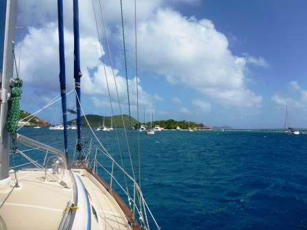 Anchoring at the back of the fleet in Marina Cay