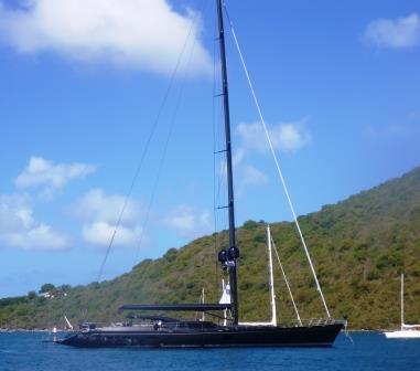 Huge black yacht