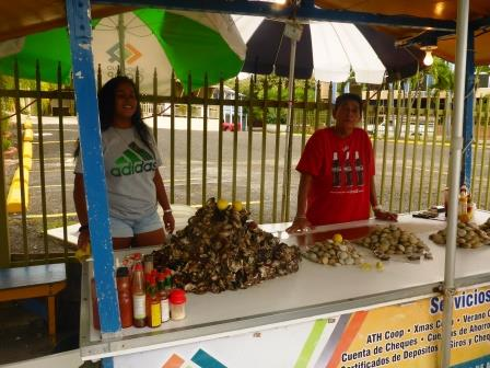 Selling local oysters and clams