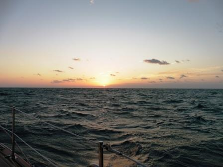 Sunset in the choppy waters