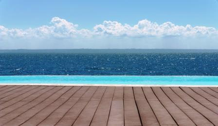 View across to Los Haitises from the pool