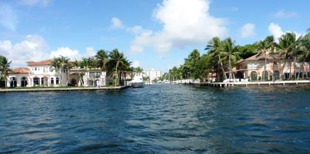 Opulent homes line the waterway
