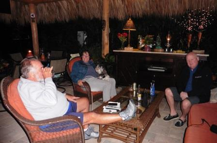 Relaxing in their Tikki hut
