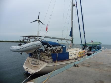 Morphie alongside the dock
