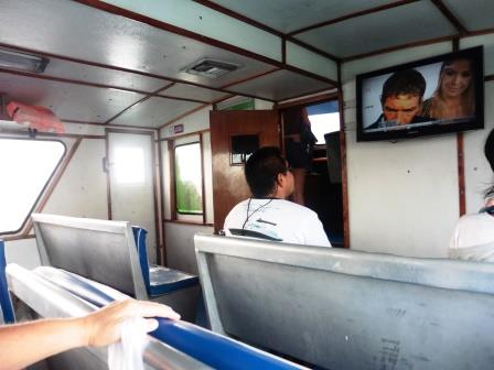 Watching TV on the ferry