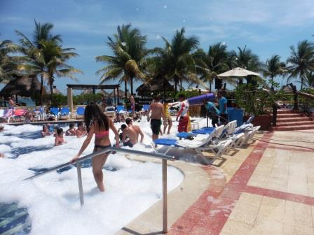 Foam party in the main pool